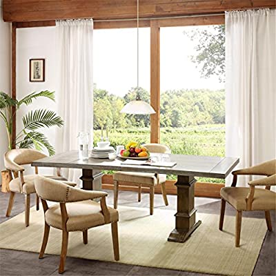 """Graham Rectangle Dining Table Grey See Below - 1 Table:84""""W x 40""""D x 30""""H Grey Frame Composition: Base: Rubber solid wood+MDF With Rubber Veneer+PU, Table top: MDF With Elm Veneer Finish: Reclaimed Grey - kitchen-dining-room-furniture, kitchen-dining-room, kitchen-dining-room-tables - 51paxHZkAFL. SS400  -"""
