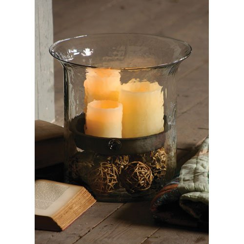 Textured Glass Cylinder Candle Holder with Rustic Insert - Giant