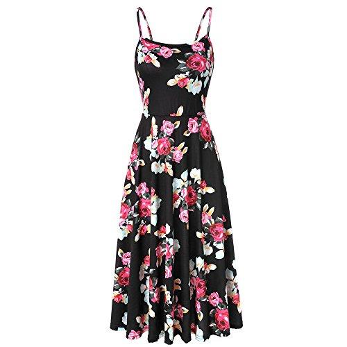 Lljin Women's Sleeveless Adjustable Strappy Summer Floral Flared Swing Dress Black ()