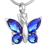 Butterfly Urn Necklace for Ashes (Blue) - Cremation Jewelry Memorial Keepsake Pendant - Funnel Kit Included