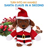 Pawaboo Pet Costume, Christmas Collection Pet Dog Cat Costume Santa Suit Outfit Jumpsuit Clothes with Cap for Halloween Christmas Dressing Up, Medium Size, Red