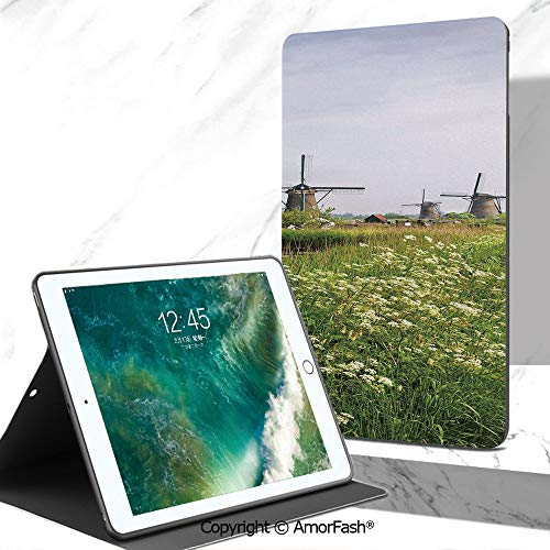 (Windmill Decor Printed Tab A 7 Inch Tablet Case for Samsung Galaxy Tab A SM-T280 / T285 / Samsung Tab A6 A7,Country Landscape The Netherlands Spring Blooming Parsley Decorative )