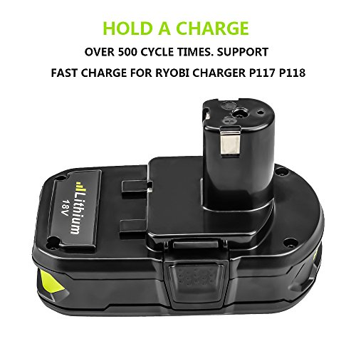 Battery for Ryobi 18v 2500mAh, Fhybat P102 Lithium Replacement 18 Volt ONE+ P108 P100 P104 P105 P110 Cordless Power Tools Batteries (2Packs) by Fhybat (Image #2)