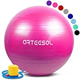 arteesol Exercise Yoga Ball, Gym Ball with Quick Pump 75cm/65cm/55cm/45cm Anti-Slip Exercise Ball Heavy Duty Gym Ball for Physical Therapy, Gym and Home Exercise (Pink, 75cm)