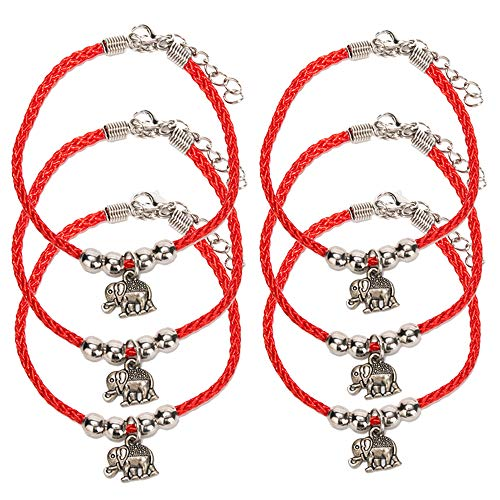 6 Pieces Handmade Elephant Charm Kabbalah Red String Bracelets for Women and Men, Adjustable Braided Thread Friendship Jewelry, Gift for Kids, Extension Chain (Elephant-2)