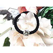 Stuffy funny hair ring Tousheng Dongguk door import large drilling Austrian drilling simple bow coarse hair rope hair ring for women girl lady