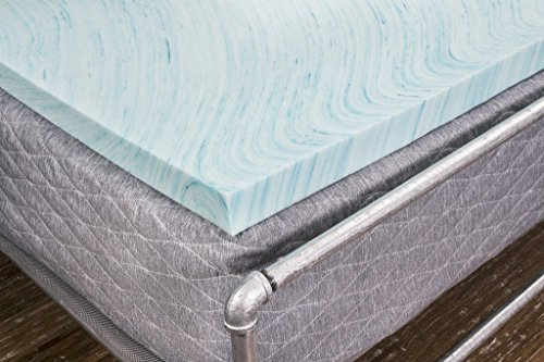 Dreamfoam Bedding 2' Gel Swirl Memory Foam Topper, Queen, Blue