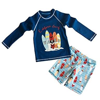 Merrybaby Boys Two Piece Rash Guard Swimsuits Kids Long Sleeve Sunsuit Swimwear Sets MB-yy05