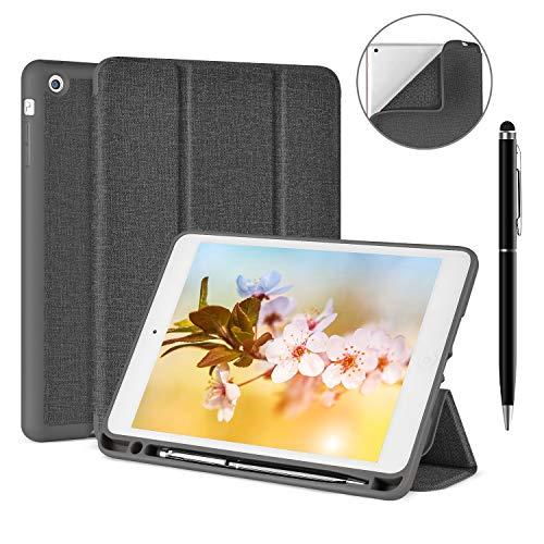 iPad Mini 3 2 1 Case with Free Stylus Pen, Soke Ultra Slim Smart Case Trifold Stand with Pen Holder and Shockproof Soft TPU Back Cover for Apple iPad Mini 3/Mini 2/Mini 1, Grey