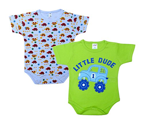 Little Stars Baby-Boys' Rompers – Pack of 2 -Multi-colored