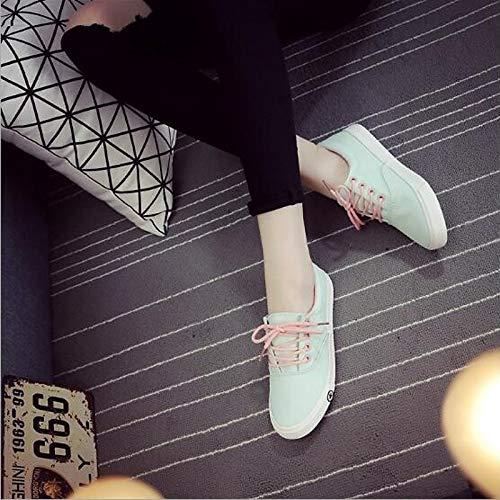 ZHZNVX Zapatos de Mujer Canvas Spring Comfort Comfort Flat Heel Round Toe Azul/Negro / Blanco/Azul Claro Light Blue