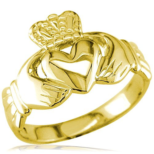 Wide Lightweight Ladies or Mens Claddagh Ring in 14K Yellow Gold size 9.5