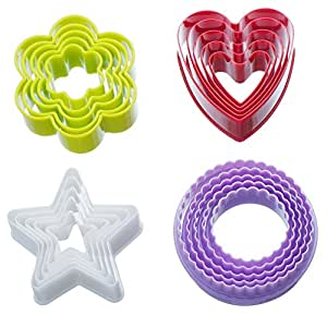 VonShef Plastic Colorful Cookie Cutter Set - 20 Piece