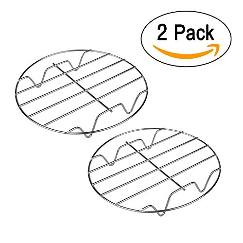 T&B 8 Inch Cooking Rack Round 304 Stainless Steel Baking and Cooling Steaming Rack w Stand Cookware Fit for Air Fryer Instant Pot Pressure Cooker Canning Set of 2 (Small Round Pot Rack)