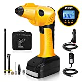 CKIECK Battery and 12V DC Portable Air Compressor Pump, Digital LCD Pressure Gauge Pump, 2200mAh Li-on Rechargeable Battery Powered, Innovatively Powerful 55 L/Min|150 PSI Auto-Stop Preset