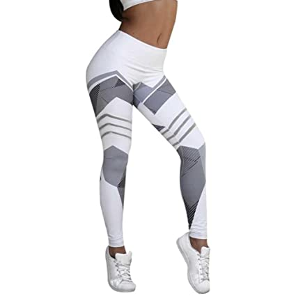 dd33bbe94ee28 Yoga Pants, Women Sexy Sports Gym Workout Mid Waist Geometric Print Elastic  Leggings (S