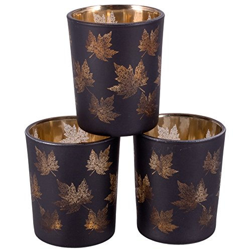 Set-of-3-Gold-Leaf-Pattern-Tealight-Vase-Holders-Small-Leaves