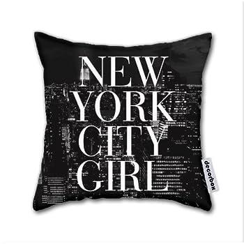 Decorbox Cotton Linen Throw Pillow New York City Girl Black & White Skyline Vogue Typography Cotton Linen Square Decorative Throw Pillow Case Cushion Cover 18 X 18 Inch