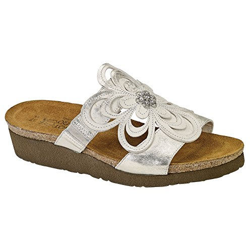 Naot Women's Sandy Wedge Sandal, Dusty Silver Leather, 37 EU/6-6.5 M US by NAOT
