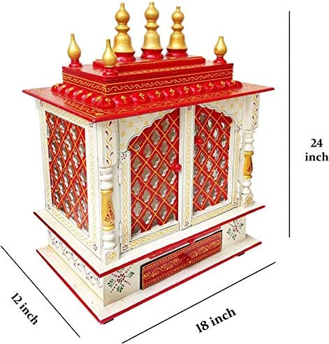 MOJO PANDA Wooden Temple//Home Temple//Pooja Mandir//Pooja Mandap//Temple for Home