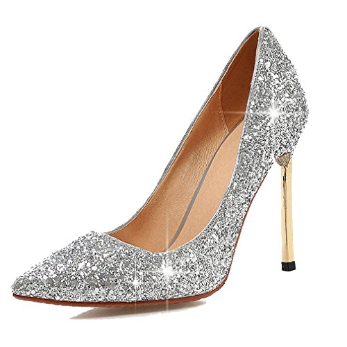 Enmayer Women Glitter Dress Pumps Tacchi Alti Da Donna Pumps Party Dress Scarpe Argento