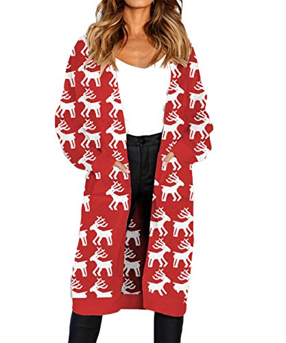 (FAFOFA Womens Christmas Sweater Xmas Reindeer Print Open Front Long Sleeve Knit Long Cardigan with Pockets L)