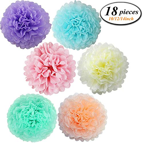 (18 Pcs Assorted Rainbow Colors Tissue Paper Pom Poms Flower Balls for Birthday Wedding Party Baby Shower Decorations ((Unicorn Pastel) )
