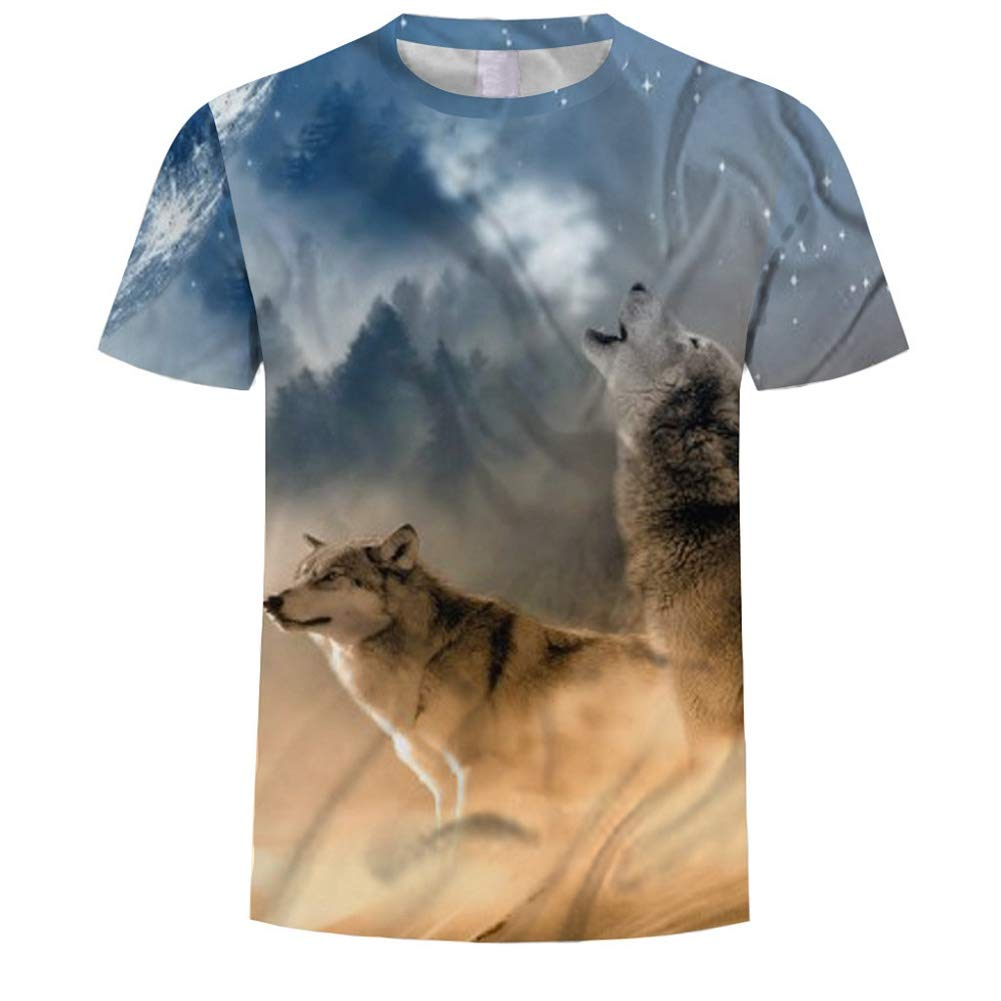 Men 3D Pattern Wolf Printed T Shirt Cool Casual Short Sleeve Crewneck Novelty T-Shirt by Lowprofile