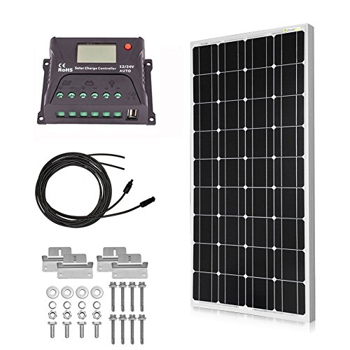 Powereco 100 Watt Solar Kit for 12V Battery of RV and Boat; Monocrystalline Solar Panel with 20A LCD Charge Controller, MC4 Tray Cable and Z-Brackets for Mounting … (100w, Kit with Controller) -