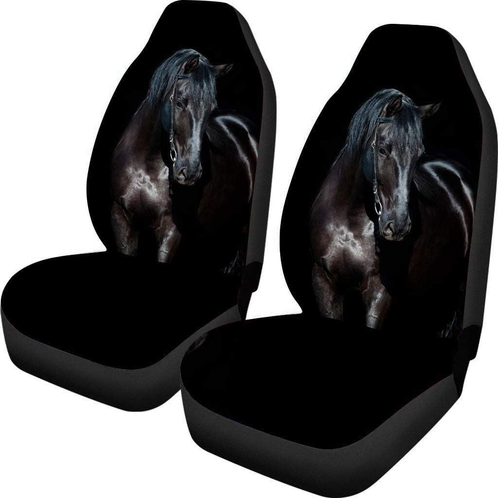 Polero Universal 2 unids asientos delanteros fundas para asiento de coche protector auto interior accesorios automóvil coche asiento cubierta caballo negro