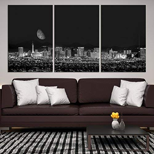 Las Vegas Casinos Skyline Wall Art by Sami Eymur | X-Large 3 Piece Framed Multi Panel Print | High Resolution Black & White Photo of City for Home Décor | Ready to Hang, 3 Extra Large Sizes