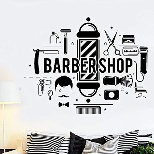 (KVKVCC Wall Sticker Barbershop Hair Wall Decal Barbershop Style Various Tools Vinyl Wall Mural Modern Design Hair Logo Wall Decor 5745 cm)