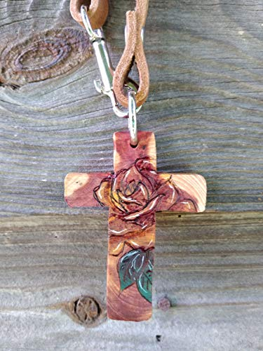 Hand Made Cross Travel Wood Burned Pendant and Painted 02