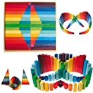 Grimm's Waldorf Wooden Sticks - Set of 60 Colorful Building Blocks in Square Frame (2x2)