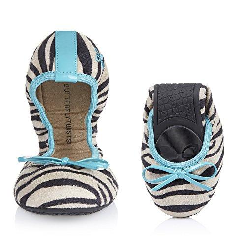 Butterfly Twists Cleo White Zebra Aqua Ballet Flats (40 EU)