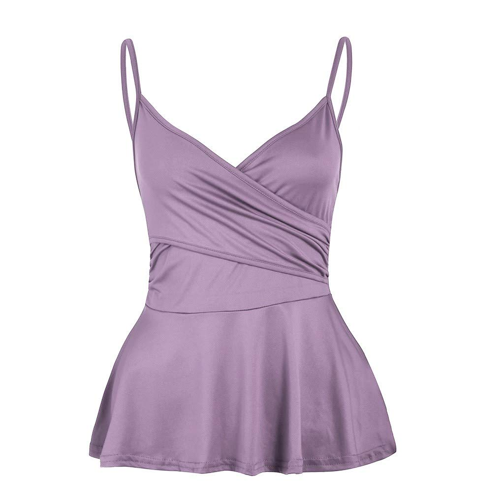 iYBUIA Women's Basic Cotton Camisole Shelf Bra Layering Cami Tank Tops 7 Colors Purple