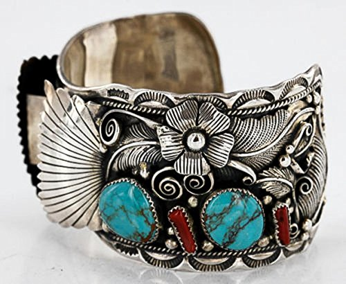 Collectable Handmade Certified Authentic Navajo .925 Sterling Silver Coral Turquoise Signed Native American Watch Cuff Bracelet (Sterling Bracelet Signed)