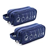 HONSKY 2 Set Medium Water Repellent Travel Electronics Accessories Gadget Cable Cord Organizer, Hanging Cosmetic Makeup Toiletry Space Storage Bags Cases Pouch for Kids Women Men,Blue