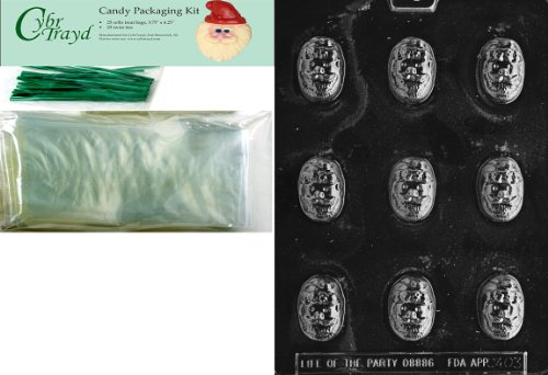 Cybrtrayd MdK25G-C403 Santa Face Bon Christmas Chocolate Mold with Packaging Kit, Includes 25 Cello Bags and 25 Green Twist Ties