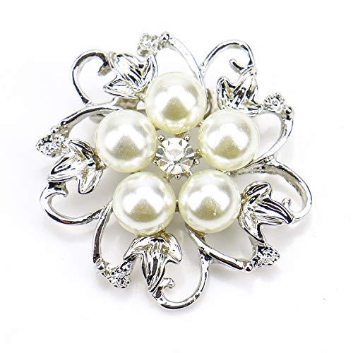 Monrocco 5Pcs Pearl Flower Brooch White Faux Pearl Flower Crystal Rhinestone Brooch Pin for Women