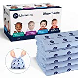 LinnieLou Baby Disposable Diaper Sacks - Baby Powder Scented Bags to Control Odor, Easy Tie Handles Seal in Wetness - (400 Count)