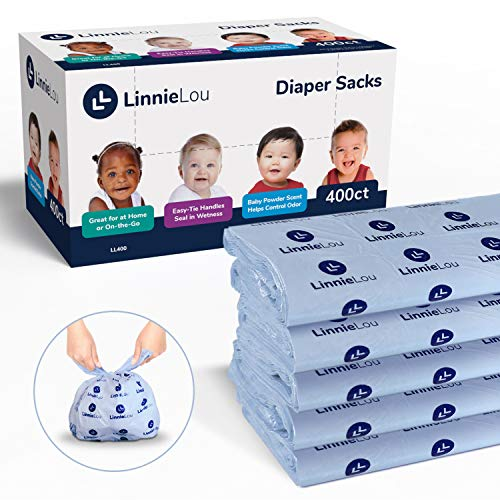LinnieLou Baby Disposable Diaper Sacks - Baby Powder Scented Bags to Control Odor, Easy Tie Handles Seal in Wetness - (400 Count) by LinnieLou