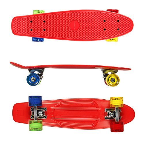 Complete Skateboards, RockBirds 22″ Plastic Cruiser Skateboard, High Speed for Kids Boys Youths Beginners, Red