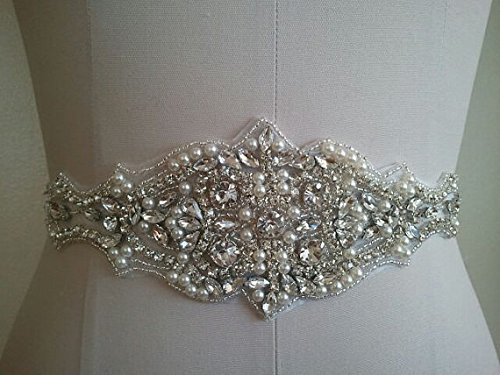 Pearl And Rhinestone Applique for Wedding Sash Bridal Belt Wedding by ShinyBeauty