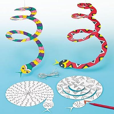 Baker Ross Lot de 10 Serpent en Spirale Mobile à suspendre et à colorier
