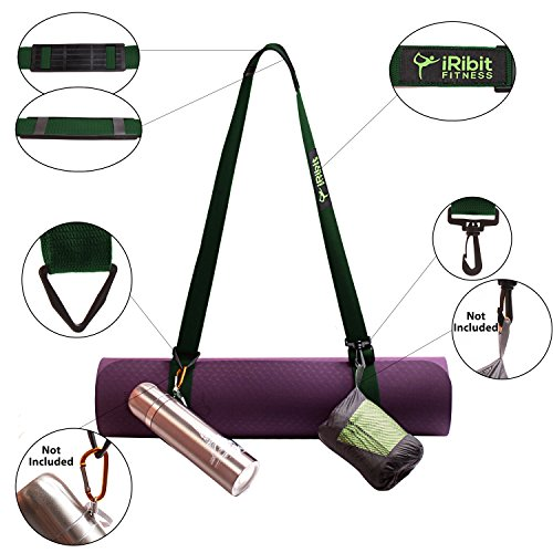 Premium Adjustable Yoga Mat Carry Strap Sling with, It's over 6.5ft long, Made of Top Quality Cotton, Snap hook and clip for carrying towels, keys, water bottles (Dark Green) For Sale