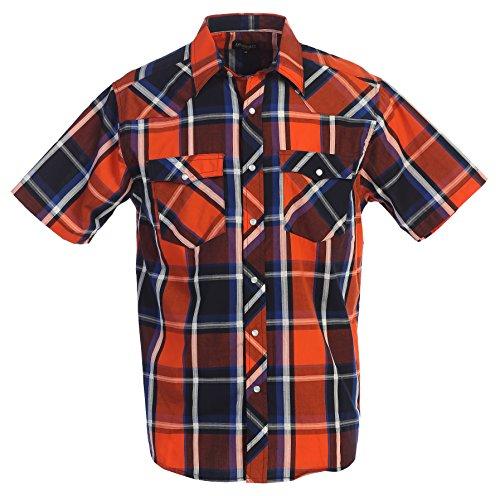 Gioberti Men's Plaid Western Shirt, Orange/Dark Blue, XX Large