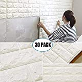 "30 Pack 3D Brick Wall Stickers, PE Foam Self-adhesive Wallpaper Removable and Waterproof Art Wall Tiles for Bedroom Living Room Background TV Decor ( 23.62""X 23.62"" inch)"