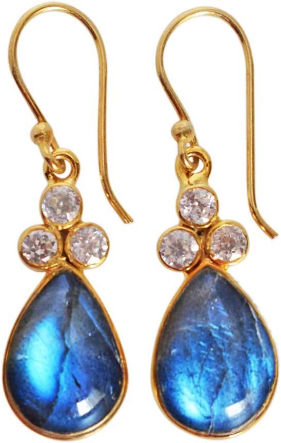 Pendientes de plata con piedra de labradorita de fuego azul natural, chapado en oro, regalo de plata, joyería para mujer FSJ-4430
