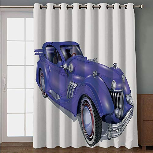 iPrint Blackout Patio Door Curtain,Cars,Custom Vehicle with Aerodynamic Design for High Speeds Cool Wheels Hood Spoilers Decorative,Violet Blue,for Sliding & Patio Doors, 102